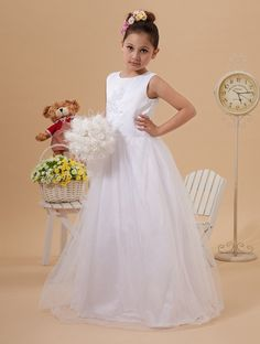 >> Click to Buy << 2015 First Communion Dresses White Cheap Flower Girls Pageant Dresses Scoop Tulle Cheap China Shop Kids Evening Gowns #Affiliate