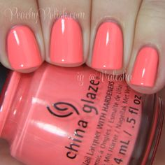 """China Glaze: Spring 2014 City Flourish Collection Swatches & Review - Peachy Polish """"Petal To The Metal"""" is a bright coral that borders on neon."""