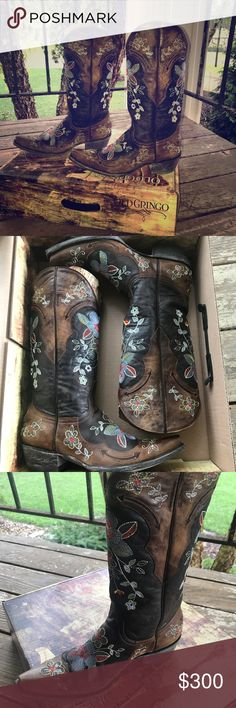 """Old Gringo Bonnie 13"""" boots Pull on design with dual  pull tabs. Smooth leather lining. Durable leather outsole. It measures as a size 8 Medium width. Measurements: Heel height: 1 1/2 inch, Weight: 1 lb. 4oz., circumference: 13 in., shaft: 12 1/2 inches. Beautiful boot!! Old Gringo Shoes Heeled Boots"""