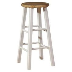 """Classic white barstool with a naturally finished top.  Product: BarstoolConstruction Material: WoodColor: White and naturalDimensions: 29"""" H x 13"""" Diameter"""