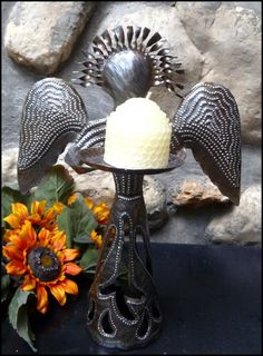 "Metal Candle Holder - Haitian Steel Drum Angel Design - 12"" High   -  See more hand hammered Haitian metal art designs at www.HaitiMetalArt.com"
