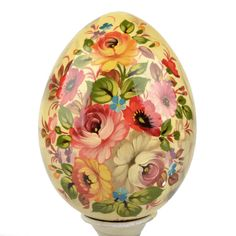 Blooming Flowers Egg on Stand | Decorative wooden eggs | The Russian Store