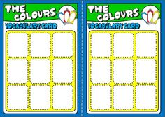 COLOURS BOARD GAME VOCABULARY CARDS http://eslchallenge.weebly.com/english-yes-1.html