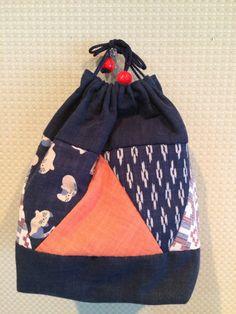 Kinchaku - No.05. Very small bag. Can be used as bag-in-bag. Very Chic!! 巾着です。バッグインバッグにもつかえます。 渋いです。