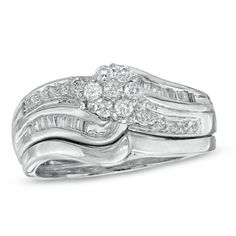 1/3 CT. T.W. Diamond Flower Cluster Bridal Set in Sterling Silver - Zales. I found my ring! Is it bad that I'm so cheap?