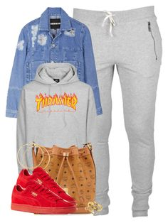 """Thrasher."" by cheerstostyle ❤ liked on Polyvore featuring House of Holland, MCM, H&M and Puma"