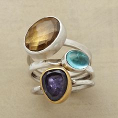 THREE STONE RING TRIO -- Iolite, apatite and an angled beer quartz on each-one-different sterling silver bands