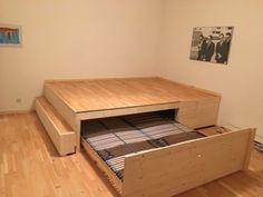 linda sorta like that Studio Apartment Living, Platform Bed With Storage, Guest Room Decor, Murphy Bed Plans, Ideas Hogar, Compact Living, Loft Design, Cool Beds, Spare Room