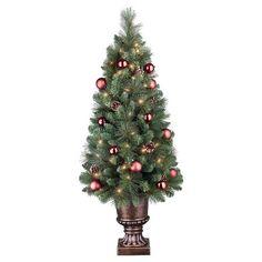 4ft Pre-Lit Artificial Christmas Tree Decorated Porch Pot Fir - Clear Lights : Target