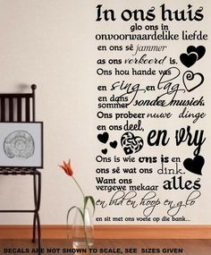 IN ONS HUIS AFRIKAANSE INSPIRASIONELE KWOTASIE 2 WALL ART STICKER SMAL – Vinyl Lady Decals Wall Sticker, Vinyl Decals, Wall Decals, Wall Art, African Market, Beautiful Wall, Quotations, Inspirational Quotes, Stickers