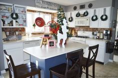 Holiday Home Tour 2015 | The Other Side of Neutral Christmas Kitchen decor, farmhouse, vintage, rustic, painted cabinets, brick back splash, plaid, buffalo check