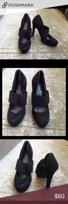 "Jessica Simpson black Mary Jane platform heels Chic & elegant pair of black suede Jessica Simpson platform mary jane heels with an elastic band for added comfort. 4.75"" heels with a 0.5"" platform. In excellent condition. Jessica Simpson Shoes Platforms"