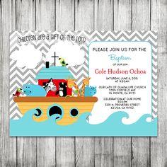 Noah's Ark Baptism Invite  Baby Shower Invite by CherryBerryDesign