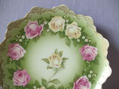 antique pink roses china plate Rosenthal by ShoponSherman on Etsy, $49.00