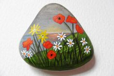 Wildflower sunset hand painted English beach pebble miniature art paperweight
