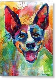 Whimsical Rat Terrier Dog Painting Greeting Card by Svetlana Novikova
