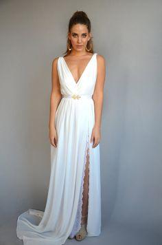 $460 chiffon wedding dress lace slit wedding dress V neck by Barzelai