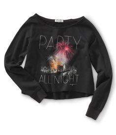 Long Sleeve Cropped Party All Night Wide Crew Sweatshirt - Aeropostale