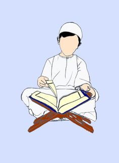 illustration d'un garcon lisant le Coran