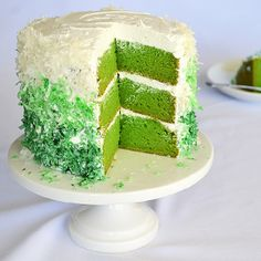Vegan St. Patrick's Day Cake with Buttercream Frosting and Coconut