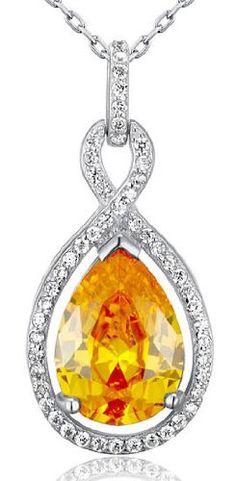 Raffiné en argent sterling 925plaqué rhodium Jaune CZ Coupe Poire Sparkling Crossover Bal Parti cristal collier pendentif chaîne 46cm…