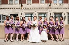 Maryland Zoo Wedding — East Made Event Company and Meghan Rose Photography. Purple wedding bridesmaids photo, flower girl, short chiffon bridesmaids dresses.
