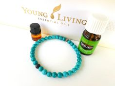 Turquoise- essential oil diffuser bracelet- lava rock- 1ml bottle young liviling oil- stress away blend- gift set by DenaJewelryDesigns on Etsy
