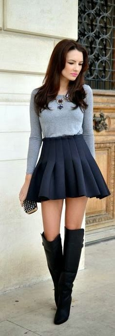 Gray Long Sleeve Shirt With Skater Skirt And Black Boots