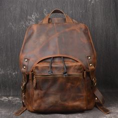 ROCKCOW Vintage Style Handmade Leather Backpack, Casual Backpack, School Backpack 5106