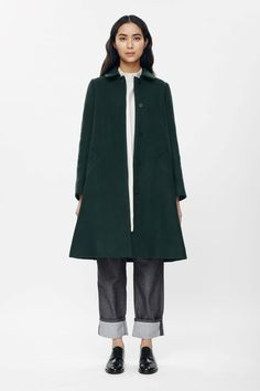 OOversize A-line coat in Forest Green