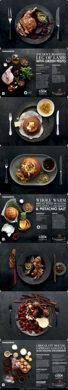 Masterchef/WW Recipe Placemats by Laura Wall on Behance - created via http://pinthemall.net