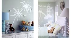palm tree (colour DULUX - Tranquil Retreat) stenciled on kitchen rhs wall (colour DULUX - Oceanic)