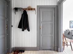 hallway. & Love this! Paint doors and trim rich dark gray. Canu0027t find name of ...