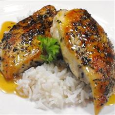 Chicken breasts are topped with a sauce of orange juice, fresh rosemary, and maple syrup. ♥