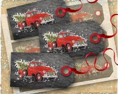 Red Christmas Truck printable Christmas tags on a rustic chalkboard background.