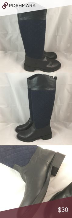 Black & Navy Victoria's Secret Riding Boots True to size 9. These boots are super cute and true to size. They are perfect all year round and match almost any outfit. I don't recommend them for someone with wide calves as they don't have a zipper so you have to slide them on. They were worn once or twice and show signs of wear on the bottom and on the boot. Mostly just minor scuffing. Some scuff is on top of left boot toe area. I tried to get everything in the pictures so you could see. The…