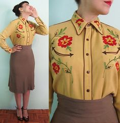 40s XL Western Wear Embroidered Cowgirl Blouse - Gabardine Shirt - Large