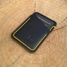 """A black chromexcel and yellow threaded Speedwallet UK bound.  #speedwallet #wallets #wallet #edc #everydaycarry #pocketdump #horween #leatherwork…"""