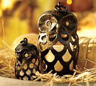 """Aluminum owl lanterns with antique-bronze finish. 7"""" & 12"""" ($29 & $59)"""