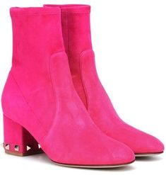 But without the studs. And I'll need a sweater to match. Lace Ankle Boots, Ankle Booties, Heeled Boots, Valentino Clothing, Valentino Shoes, Hot Pink Heels, Pink Shoes, Valentino Garavani, Draw