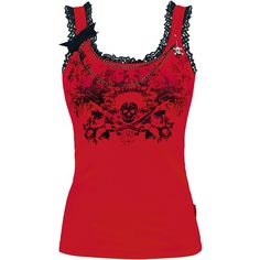 Queen Of Darkness - Lace Skull Top  With removable chains and lace made of 100% polyester.
