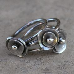 Sea Anemone Stacking Rings Sterling Silver by KiraFerrer on Etsy, $75.00