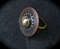 Mixed Metal Sun Ring/ Silver And Brass Ring/ by DeborahLeeTaylor, $89.00