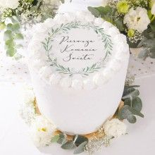 OPŁATEK personalizowany na Chrzest Lily of the Valley - LeonKameleon. Lily Of The Valley, Vintage Lace, Vanilla Cake, Birthday Cake, Place Card Holders, Invitations, Desserts, Food, Baby Photos