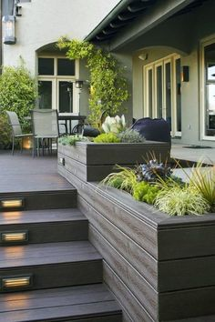 27 Outdoor Step Lighting Ideas That Will Amaze You is part of Patio deck designs - A collection of outdoor step lighting installations including stairs lighting for beauty, safety, ideas for lighting your outdoors steps [LEARN MORE] Patio Deck Designs, Patio Design, Garden Design, Small Deck Designs, Patio Ideas, Unique Deck Ideas, Porch Ideas, Deck Steps, Outdoor Steps