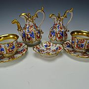 19th Century Old Paris Porcelain Antique Tete a Tete Cup Saucer Teapot Set