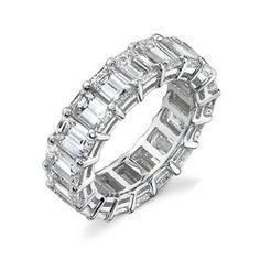 Wedding Ring Band 5 CTw. Real Diamonds 14k White Gold Emerald Eternity Ring