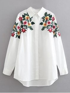 Floral Embroidered Cotton Collared Shirt - WHITE L