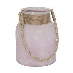 #pintratuin Sfeerlicht Hyeres. Matglazen sfeerlicht met een hengsel van jute. Kleur Roze. Afmeting Ø 16 x 14 cm. €12.95 http://www.intratuin.nl/acties/pintratuin/