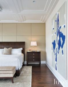 Neutral Master Bedroom with large paint splatter art for accent- better than splattering the wall!